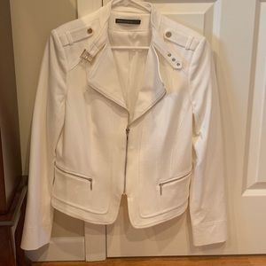 WHBM white blazer with silver zippers